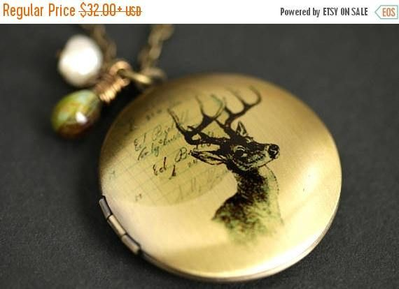 Photo Locket. Bronze Necklace Brown Deer Locket Necklace with Glass Teardrops and Fresh Water Pearl Forest Wildlife Necklace