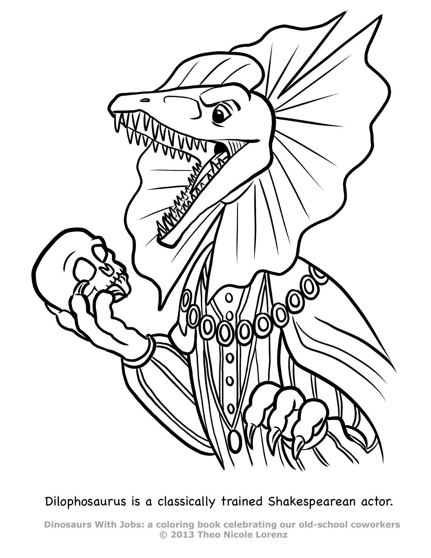 Dilophosaurus Coloring Page : dilophosaurus, coloring, DWJ-dilophosaurus.jpg, (1500×1941), Coloring, Books,, Animal, Books