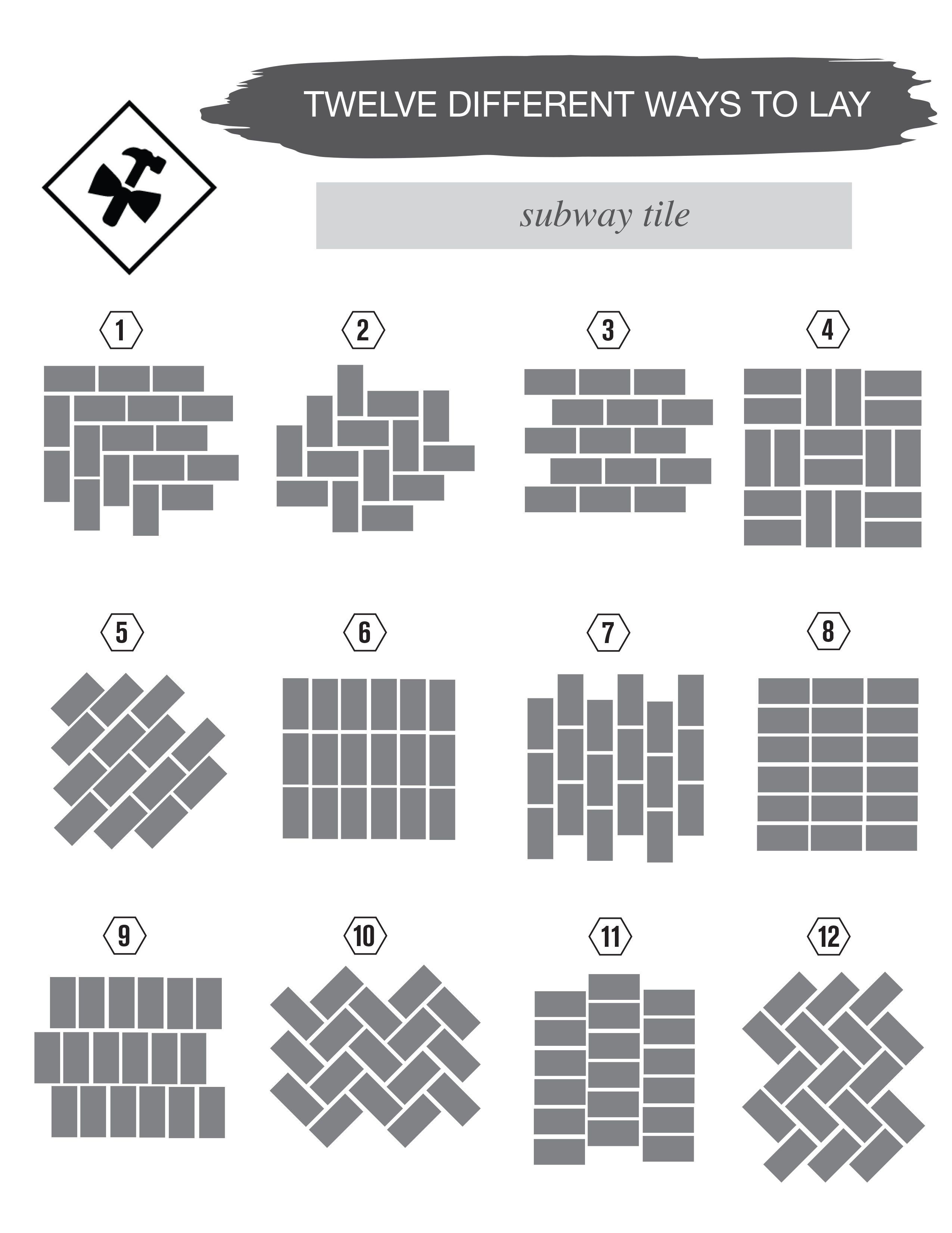 12 different ways to lay subway tile subway tiles for Subway tile patterns