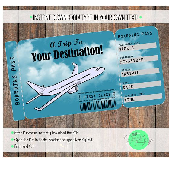 Printable Vacation Surprise Ticket Boarding Pass - Customizable - plane ticket template