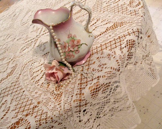 Lace Tablecloth Oval Tablecloth Made In Spain By Mailordervintage, $9.10