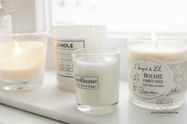 White scented candles on marble tray by asa selection #tinekhome #lothantique #h&mhome #scented #candle #white