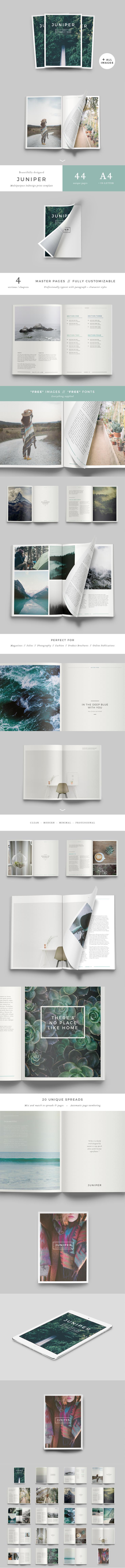 #magazine #design from 46&2 Collective   DOWNLOAD: https://creativemarket.com/Forty6and2/515976-J-U-N-I-P-E-R-Magazine-Portfolio?u=zsoltczigler