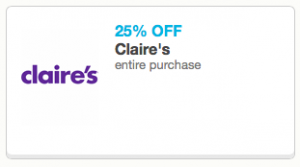 graphic about Claire's Printable Coupons known as Claires: 25% Off Comprehensive Order Coupon Retail Retailer