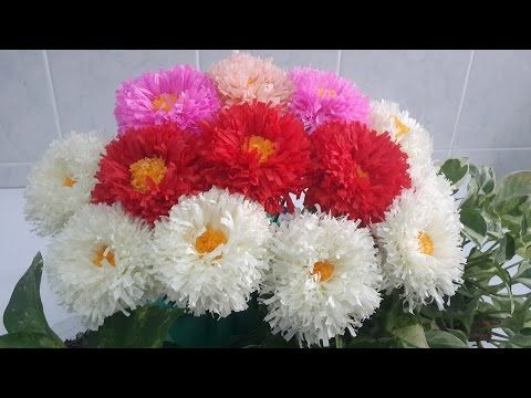 How to make daisy tissue paper flowers flower making of tissue diy paper crafts how to make beautiful daisy paper flowers tutorial for home decoration mightylinksfo