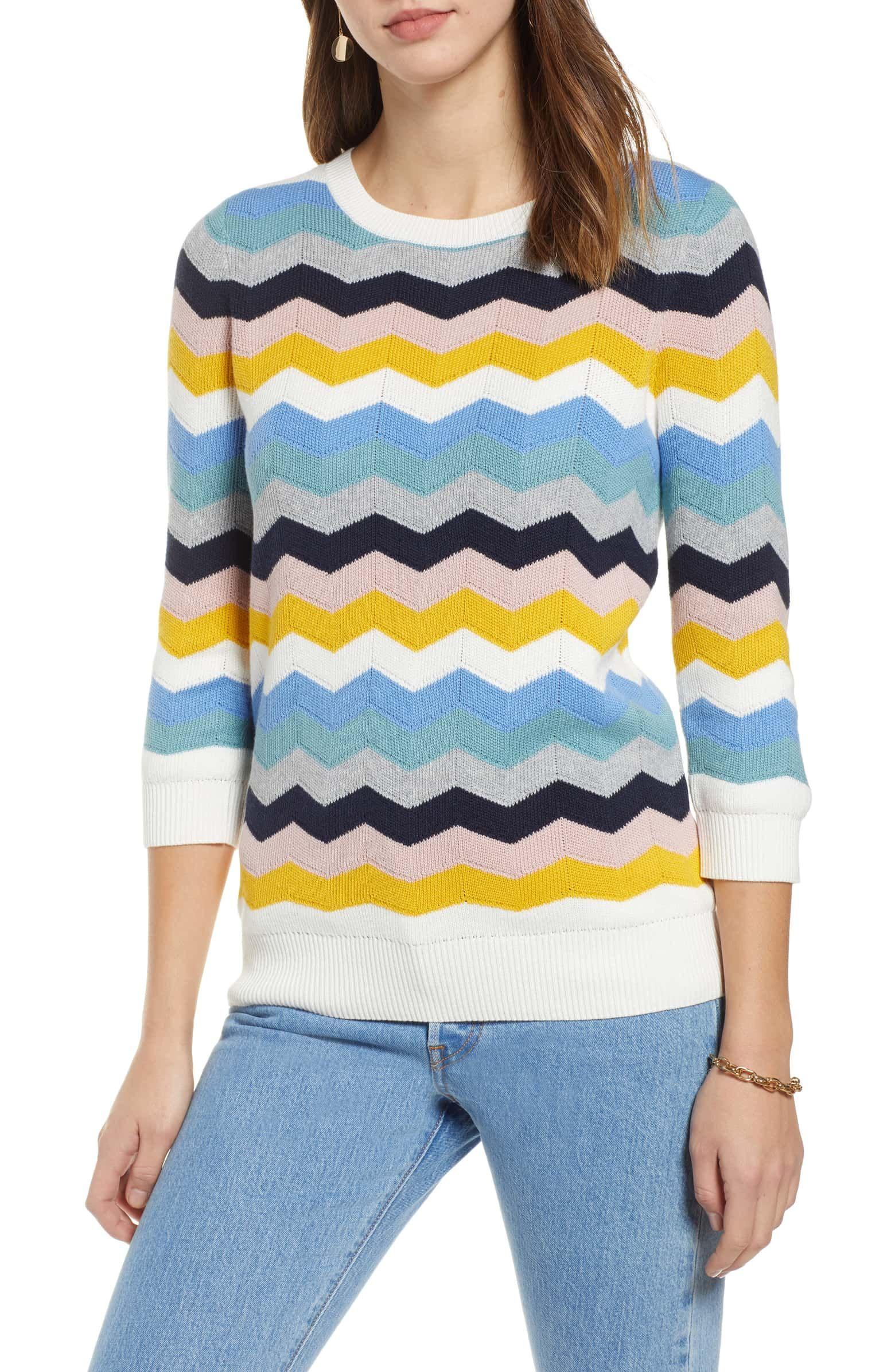 f1cfc3862ff478 Chevron Jacquard Sweater, Main, color, BLUE MULTI CHEVRON PATTERN ...