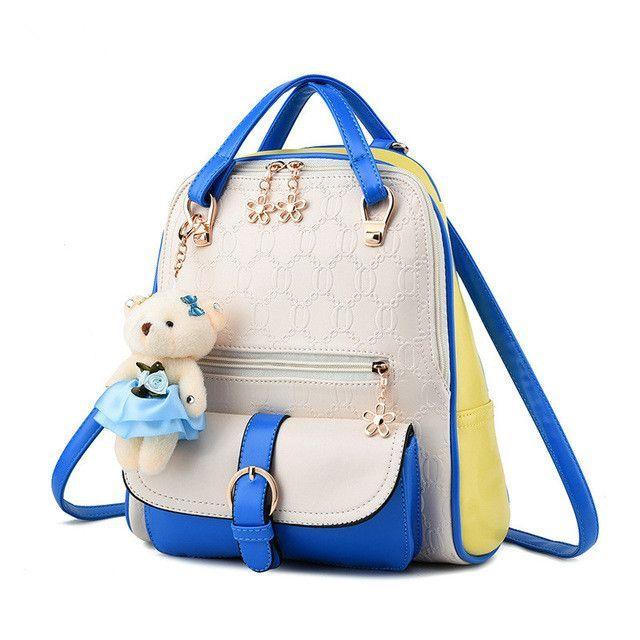 YK-Leik College Style Sweet Lady Shoulder Bag High Quality Embossed Pu  Leather backpack women Ladies Fresh Backpacks School Bags af0d3ad45a588