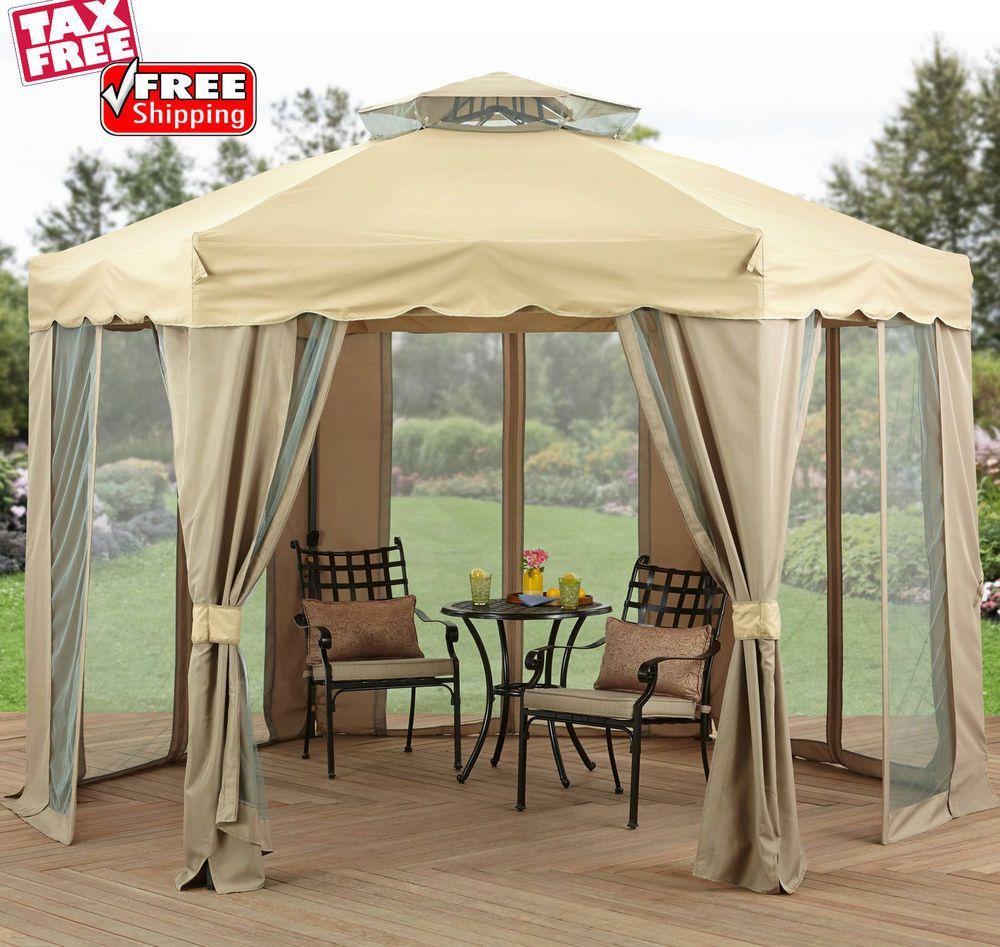 Outdoor Gazebo With Netting Canopy 12x12 Patio Tent Pergola Garden Shade Shelter Outdoorgazebowithnettingca Outdoor Canopy Gazebo Patio Gazebo Outdoor Gazebos