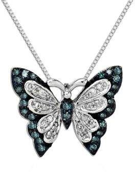 e1dfee6936d74 Lord & Taylor Green Diamond, Diamond And Sterling Silver Butterfly ...