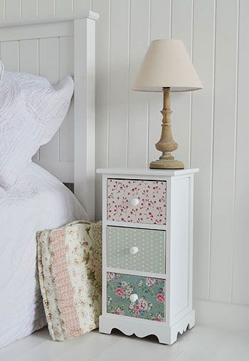Rosewood White And Pink Bedside Table For Girls Bedroom Cottage