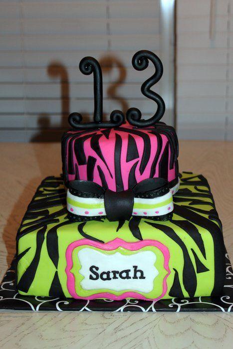 13th birthday girl neon Zebra print 13th birthday cake by