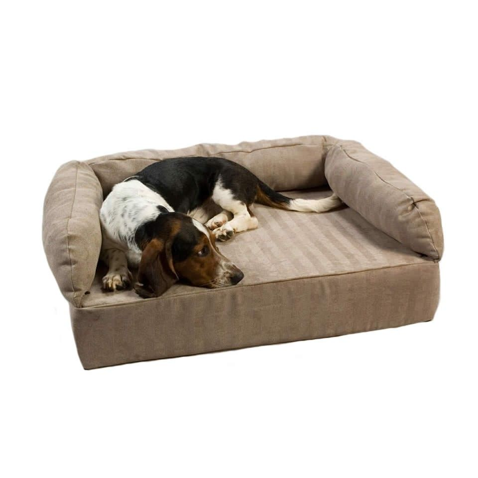 This memory foam luxury dog sofa offers