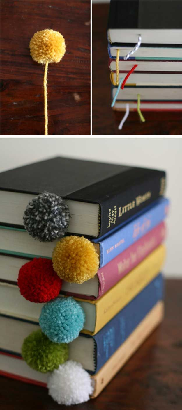 Cheap and Easy Craft Projects for Teens | Pom Pom Bookmarks by DIY Ready at http://diyready.com/27-easy-diy-projects-for-teens-who-love-to-craft/