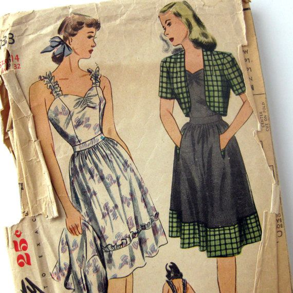 1940s Vintage Sewing Pattern Misses Sundress summer day dress white black green grey floral checks by SelvedgeShop