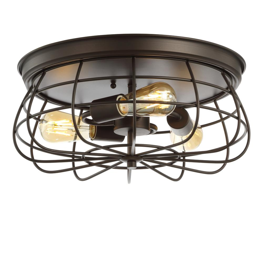 JONATHAN Y Calvia 15.7 in. 3Light Farmhouse Metal Cage