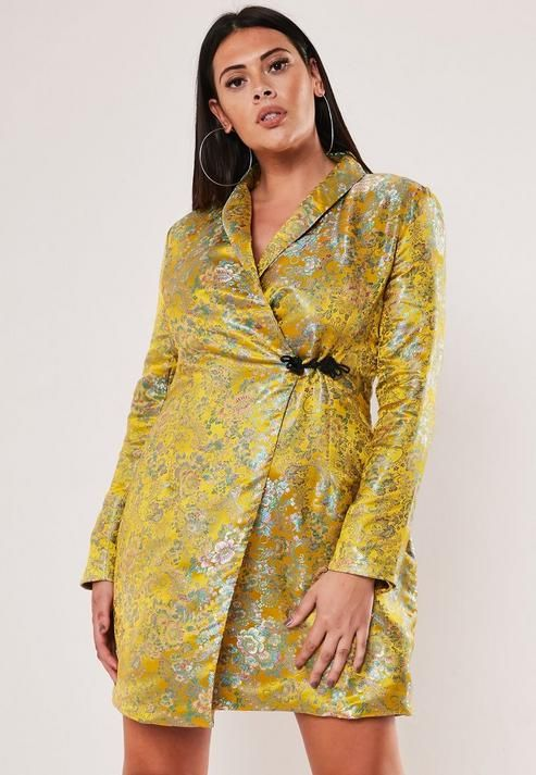 Missguided - Plus Size Yellow Jacquard Satin Blazer Dress