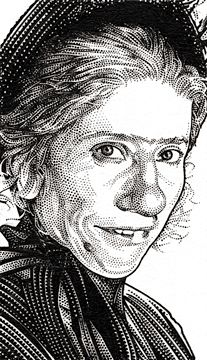 Wall street journal hedcuts on behance nanny mcphee for Nanny mcphee coloring pages