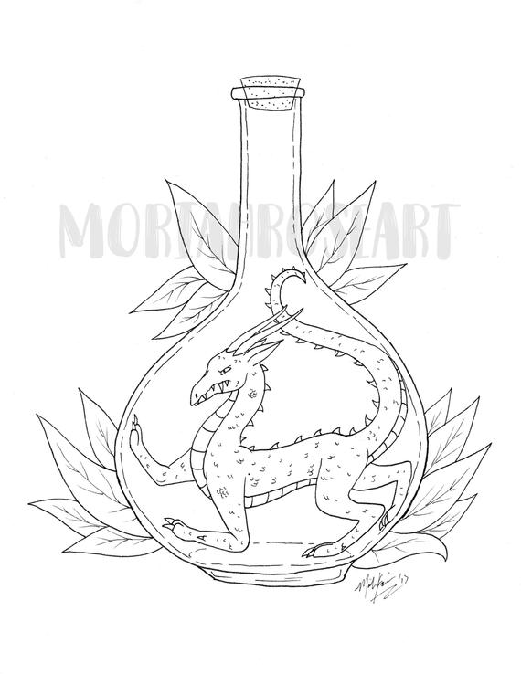 Bottled Drake Coloring Page Awesome For Dragon Lovers Digital