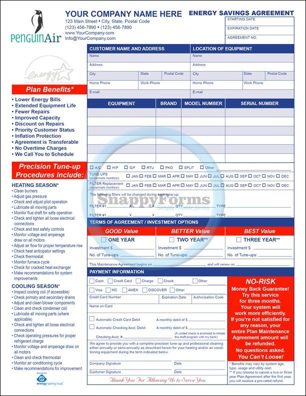 A fillable, Energy Saving HVAC Maintenance Agreement form