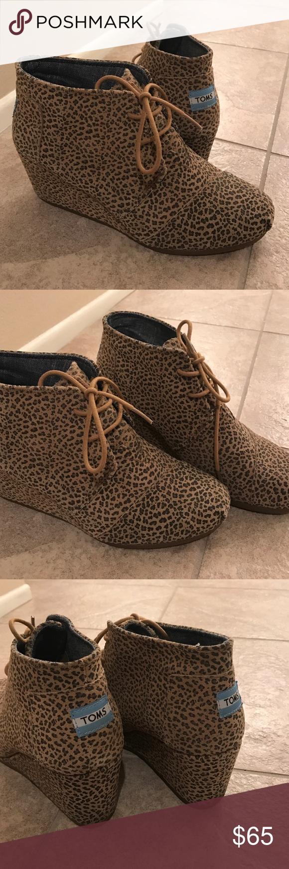 toms leopard wedge booties