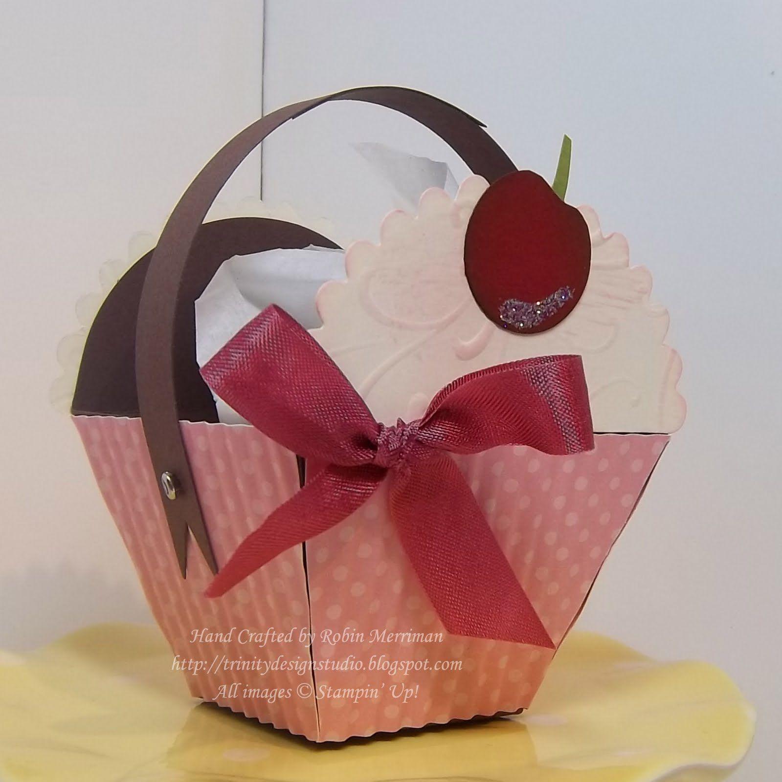 Cupcake basket tutorial using stampin ups petal cone die