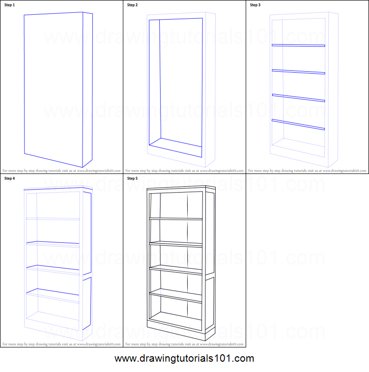 How To Draw A Book Shelf Printable Step By Step Drawing Sheet