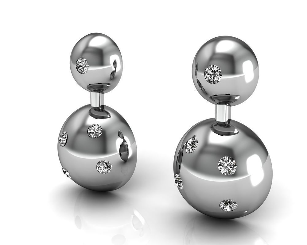 Designer Solid 18k White Gold Ball Stud Earrings Pave Diamond Valentine Jewelry Handmade