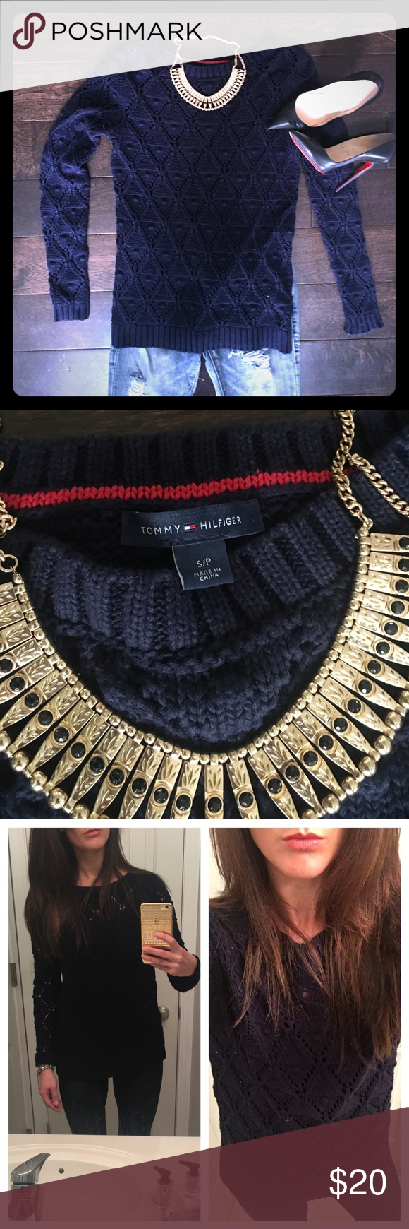 Tommy Hilfiger • Navy Crochet Sweater Tommy Hilfiger • Navy Crochet Sweater.  Worn Once!  Excellent Condition.  Size Small. Tommy Hilfiger Sweaters Crew & Scoop Necks