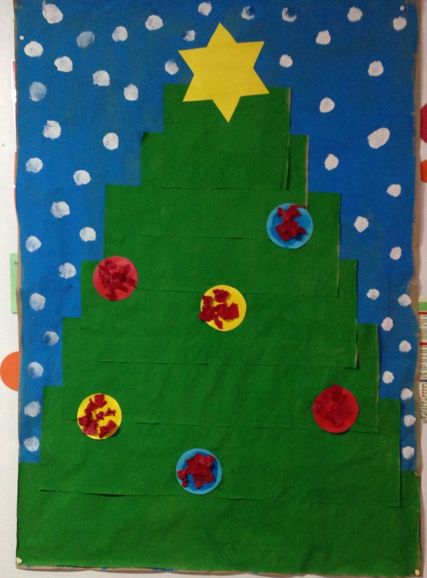 Christmas Tree Craft. Toddlers collage.