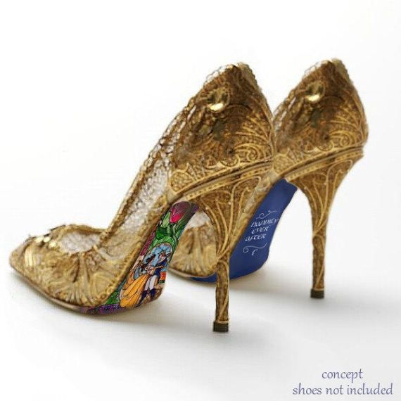 91d941b3060 Custom hand painted Beauty and the Beast Stained Glass heels | fairy ...
