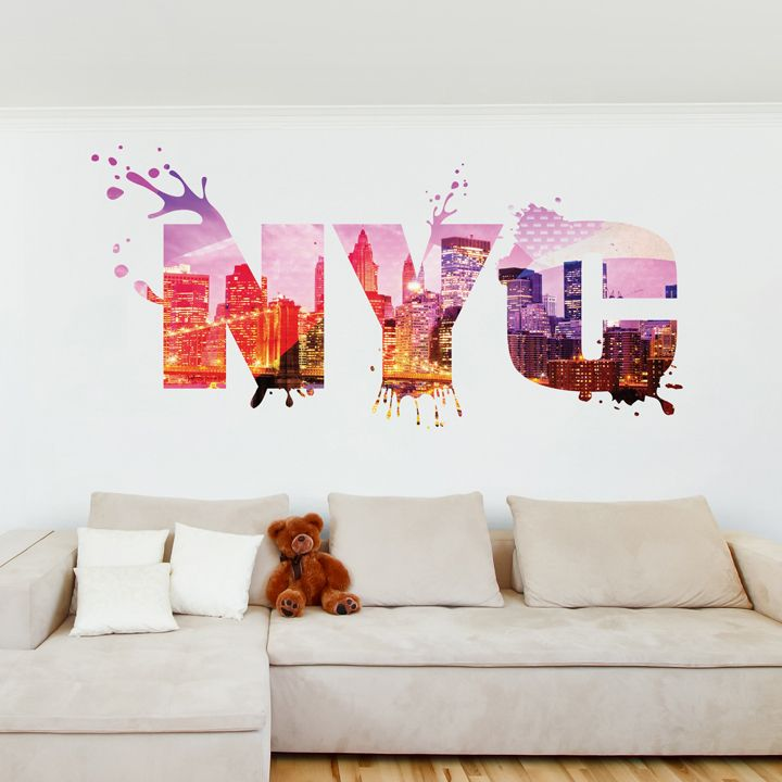 Chambre d\u0027ado  stickers, coussins, lampes Direction New York
