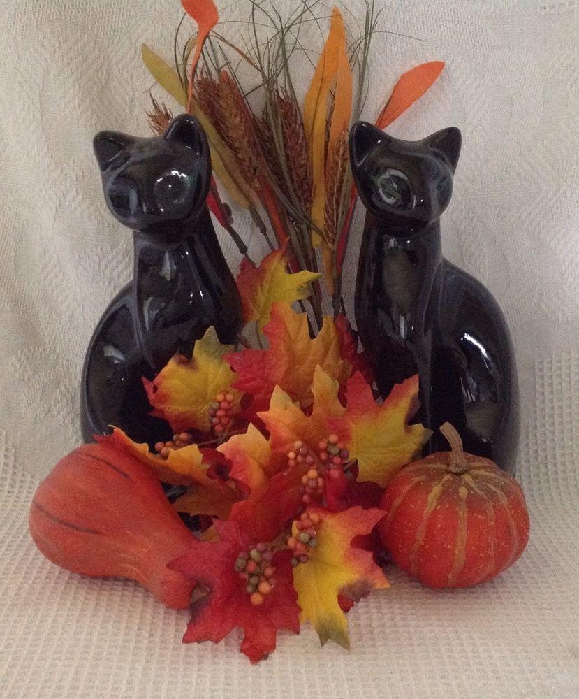 VTG MINT MidCentury Sleek Black Cat Figurines (Artmark