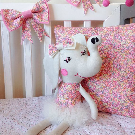 Miss Chive Ballerina Elephant / Premium Cloth Doll featuring Liberty Art Fabric and Handmade Tutu /Luxury Unique Gift / Girls Baby Softie