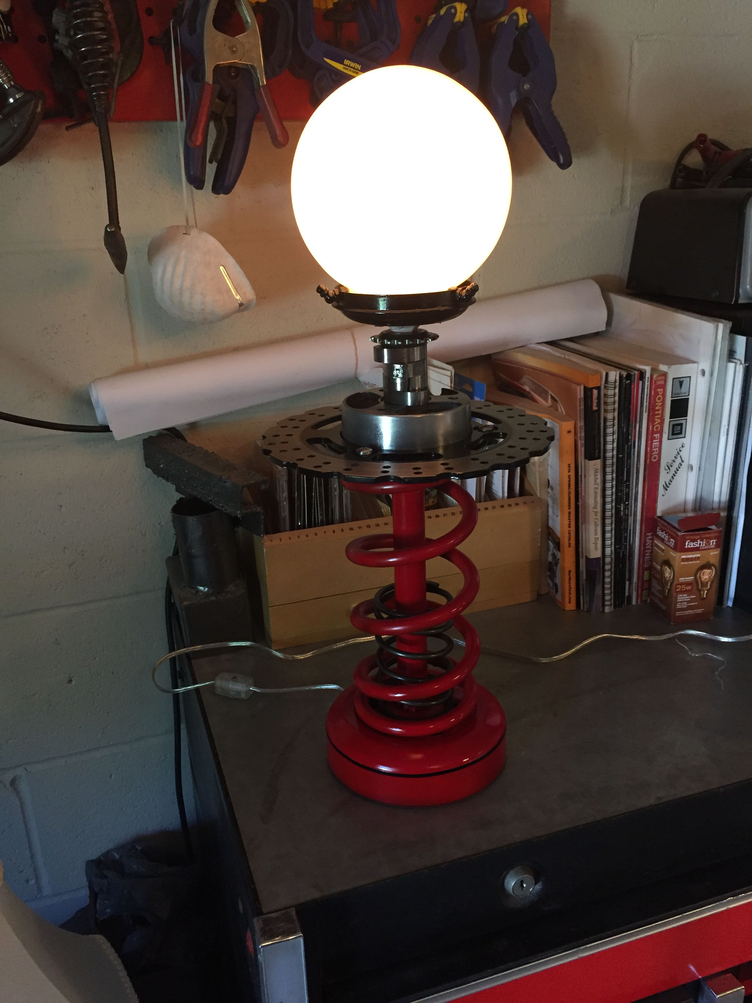 Table Lamp Made From Car Spring Motorcycle Engine And Brake Parts