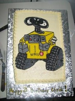 Wall E Cake Using Parchment Paper Transfer Method