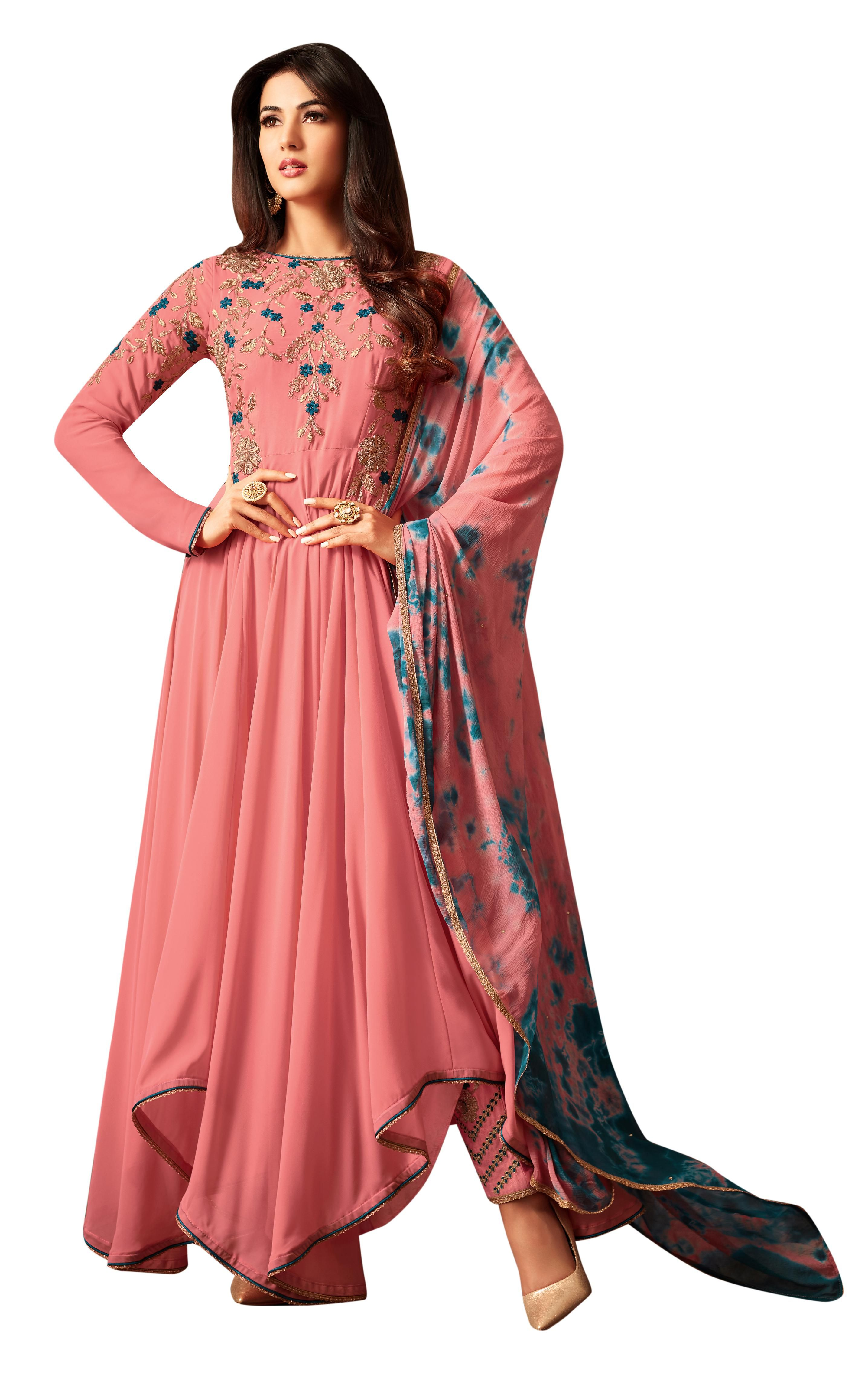 6eb7ba72d0 Peach georgette asymmetrical style suit for ethnic wear. Indian ethnic wear  online shopping best destination. Yeah! Shop now.