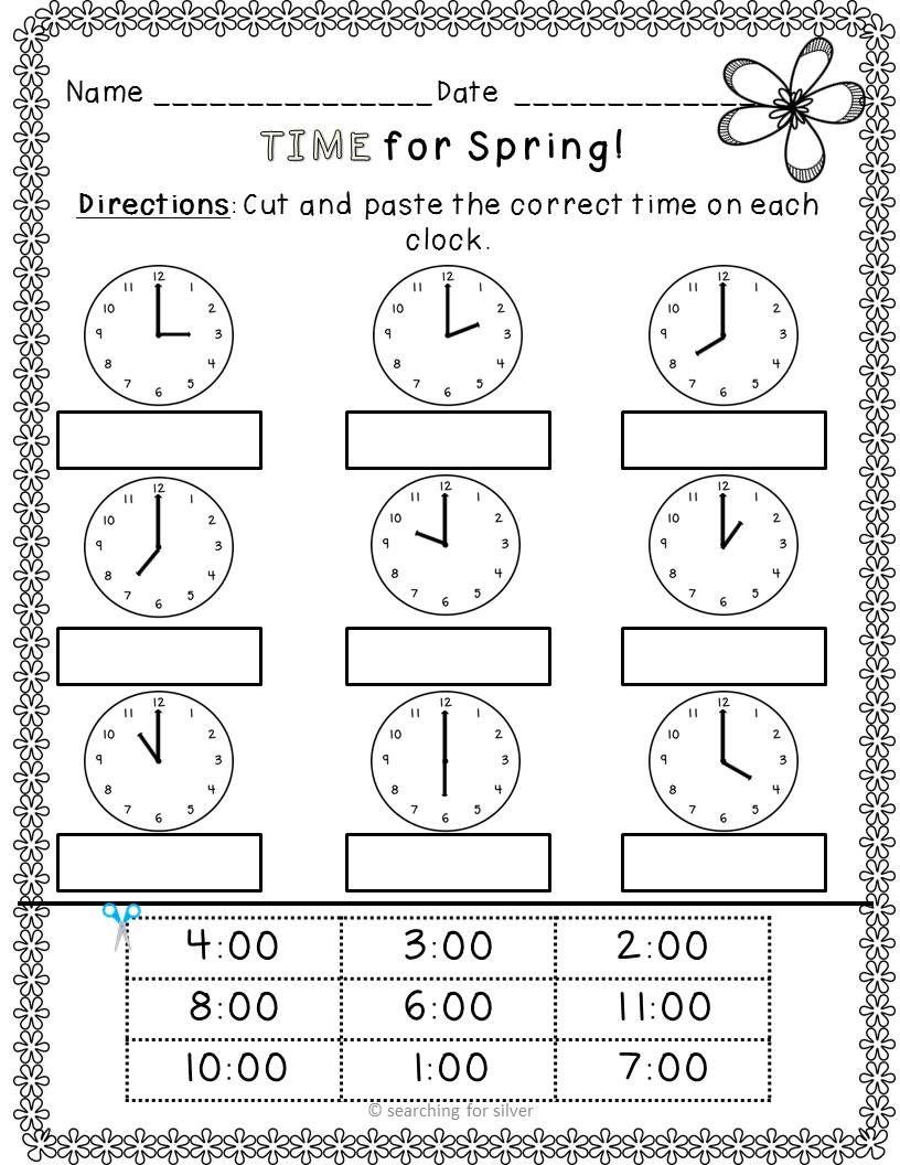 Time For Spring Kindergarten First Grade Math Packet Kindergarten Math Teaching Math Literacy Printables [ 1056 x 816 Pixel ]