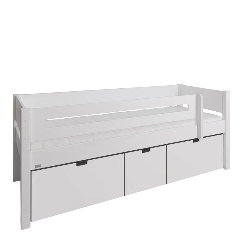 Photo of Manis-h Kids Day Bed with Safety Rail and 3 deep drawers – White