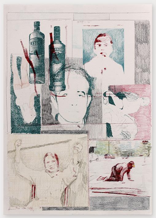 Cataleptic 2017 42 x 29,7cm, riso print, coloured pencil