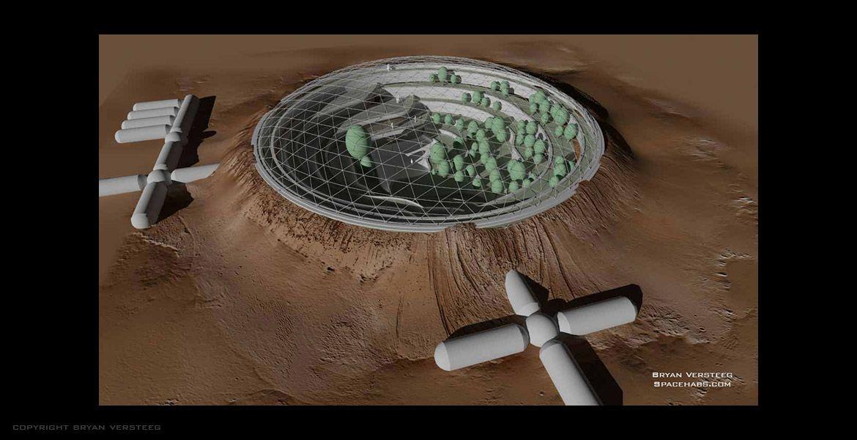 Mars habitat built into crater (aerial view) | Astro 4 ...