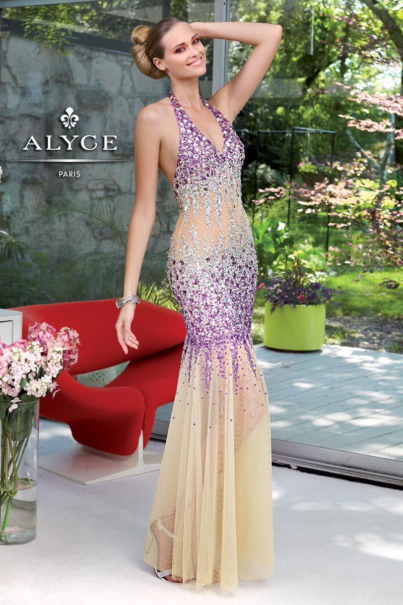 Prom dress by alyce parisucbrueucbruetulle mermaid gown sequined