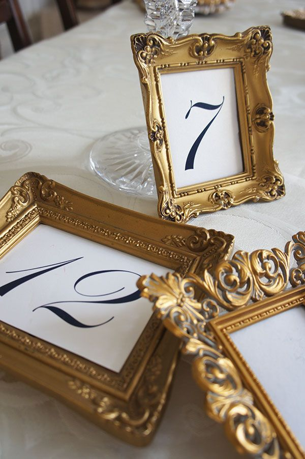 Vintage Gold Frames For Table Numbers Wwwvintagedishrentalcom