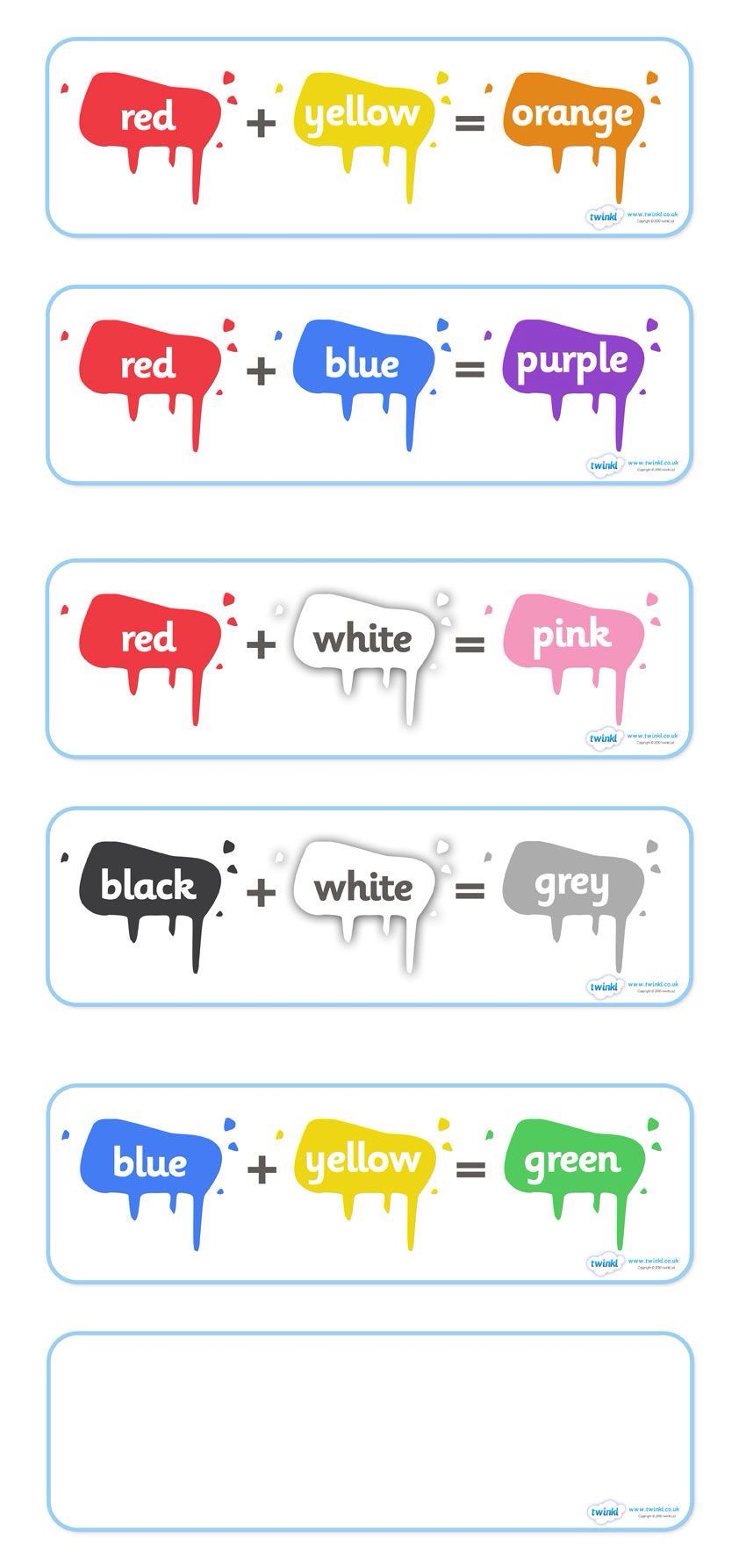 mixing colours classroom labels pinterest school activities and english. Black Bedroom Furniture Sets. Home Design Ideas