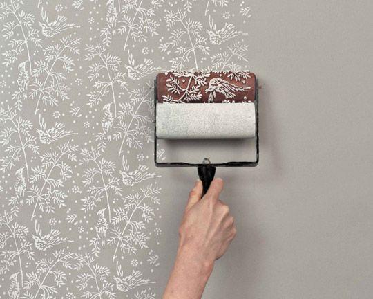diy idea paint roller printed walls. Interior Design Ideas. Home Design Ideas