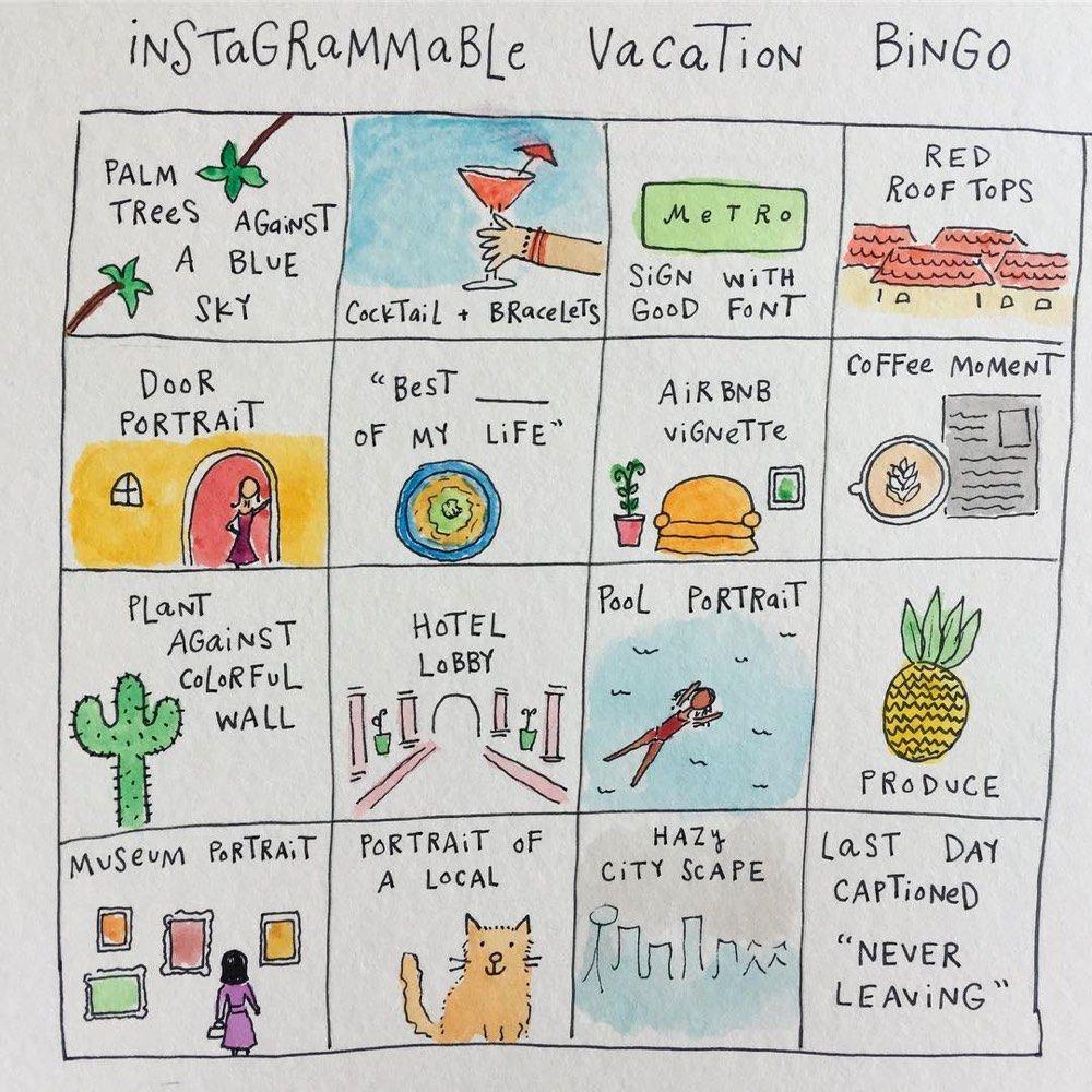 Instagrammable Vacation bingo @bymariandrew