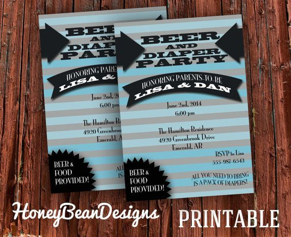 Printable Beer And Diaper Party Invitations This Is Great For The
