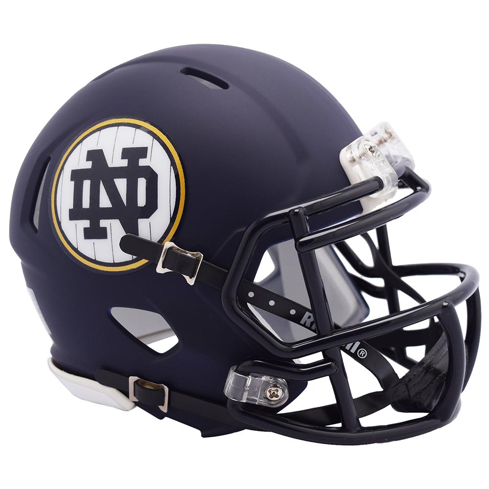 New Release Now In Stock Riddell Notredame Fightingirish Matte Navy Speed Mini Helmet The H Football Helmets Mini Football Helmet College Football Helmets