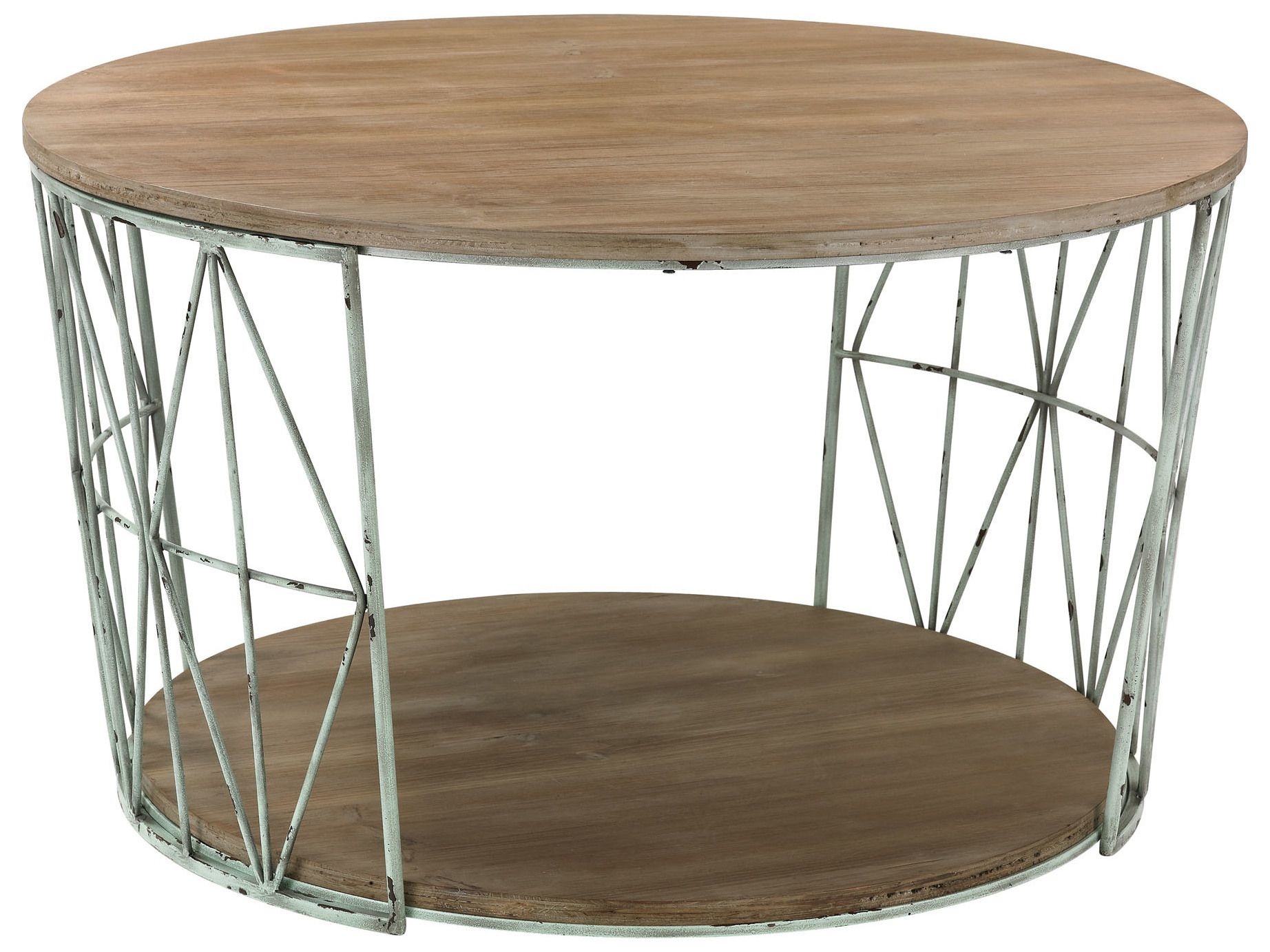 Sterling Natural Oak with Gray 32 Wide Round Coffee Table