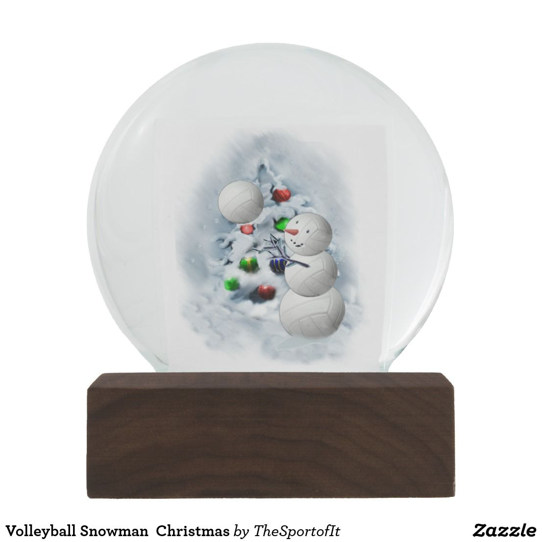 Volleyball Snowman Christmas Snow Globe Zazzle Com Christmas Snow Globes Snow Globes Christmas Snowman