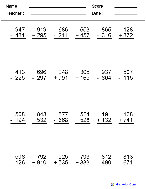 2 3 Or 4 Digits Mixed Operator Worksheets Fourth Grade